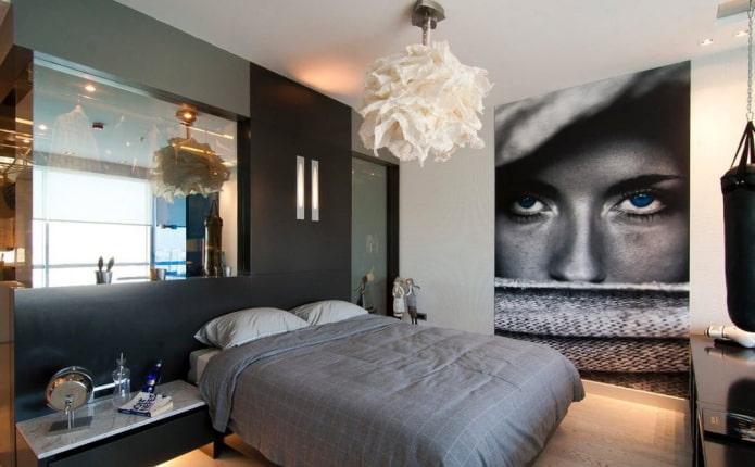 3д обои с изображением девушки в интерьере спальни