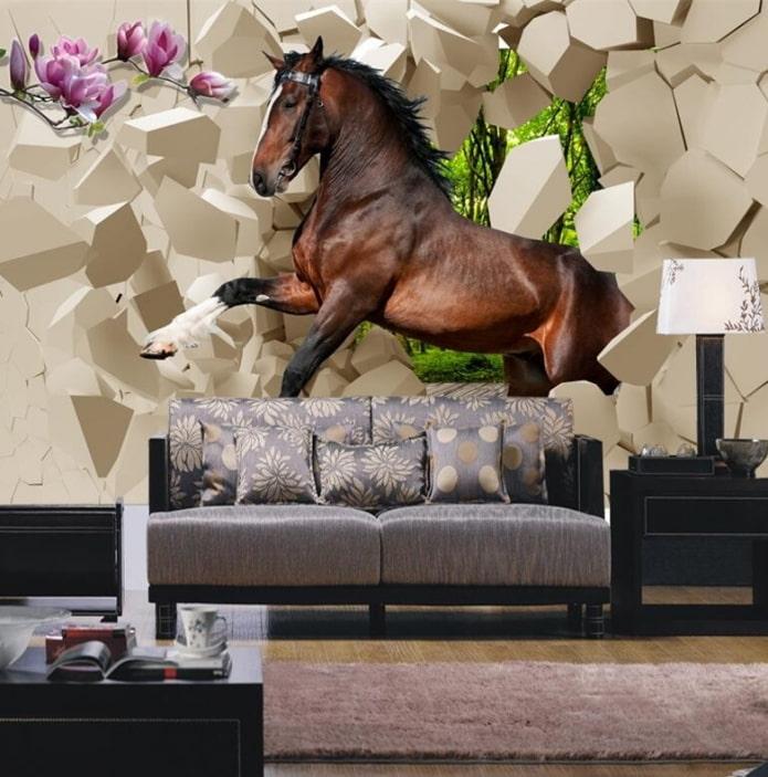 3д фотообои с лошадью в интерьере гостиной
