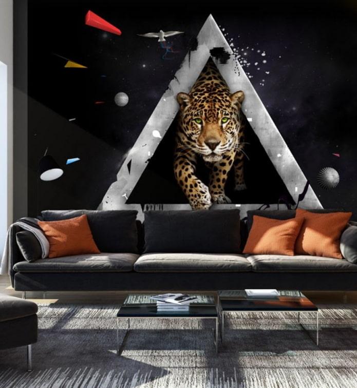 3д фотообои с гепардом в интерьере гостиной