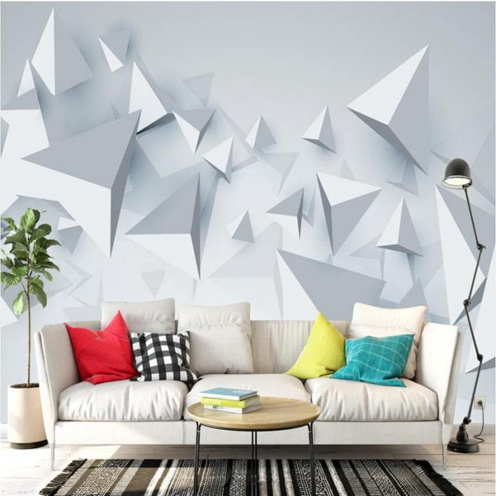 3д обои с геометрией в интерьере гостиной