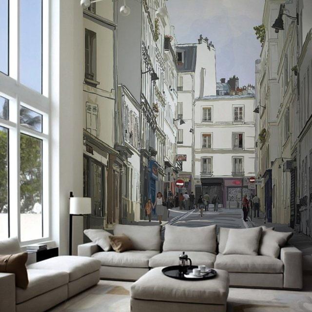 3д обои с изображением города в гостиной