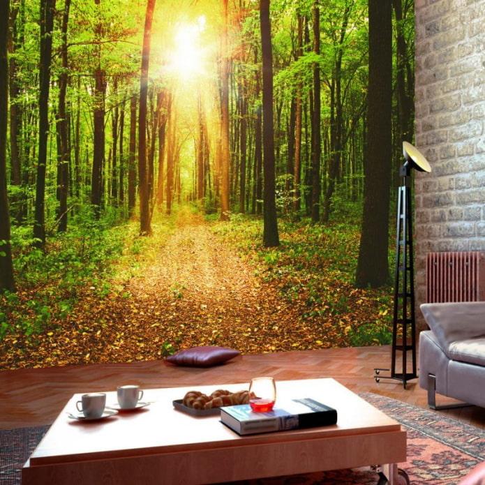 3д обои с изображением природы в спальне