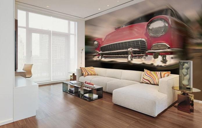 3д фотообои с машиной в гостиной