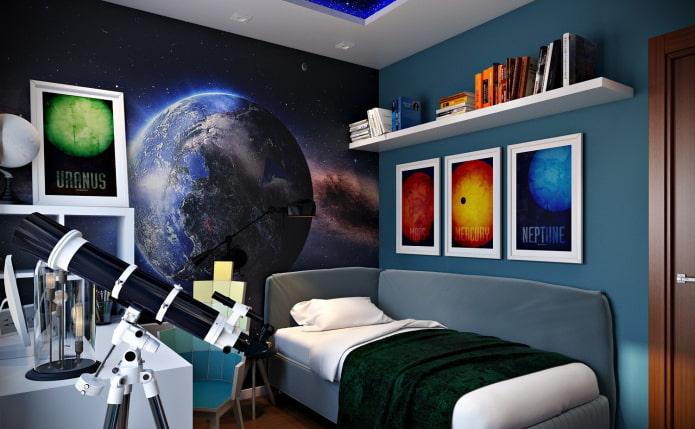 3д обои с изображением космоса в комнате подростка