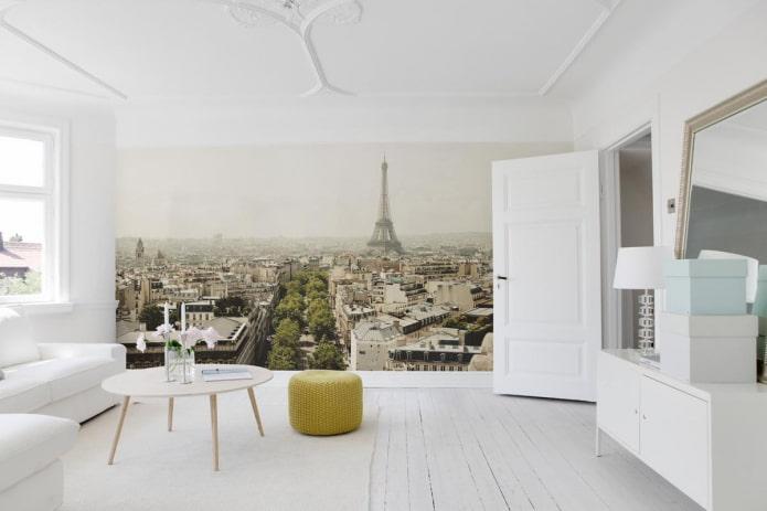 фотообои с изображением Парижа в интерьере гостиной