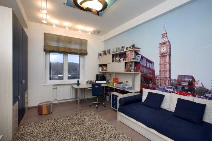 фотообои с изображением Лондона в комнате подростка