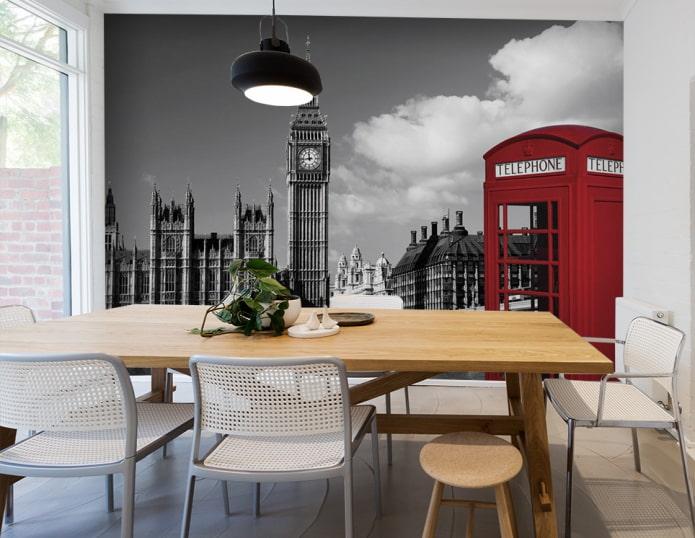 фотообои с изображением Лондона в интерьере столовой