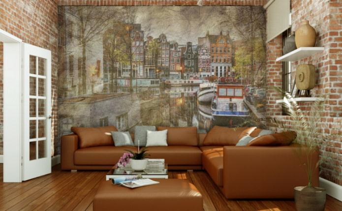 фотообои с изображением Амстердама в гостиной