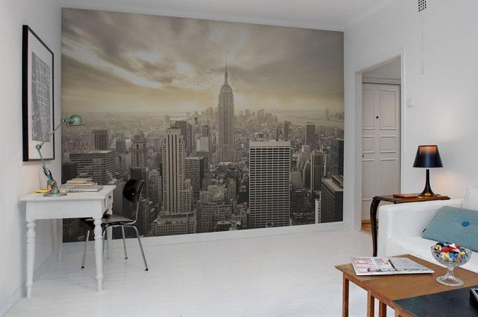 фотообои с изображением Нью-Йорка в интерьере