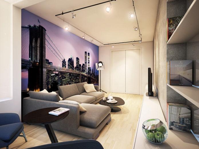 фотообои с изображением Нью-Йорка в интерьере гостиной