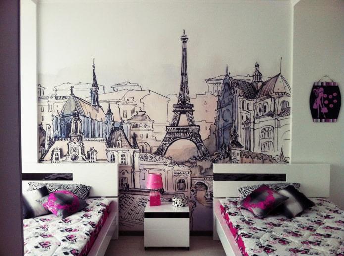 обои с изображением Парижа в интерьере гостиной