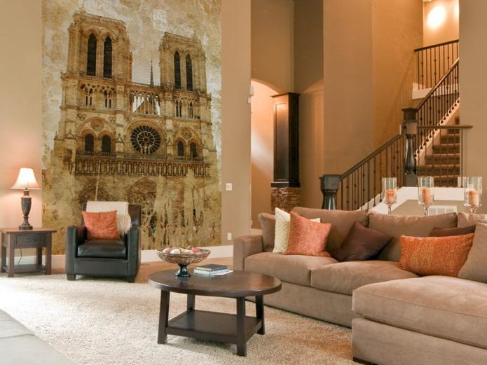 фотообои с изображением Нотр-дама де Пари в интерьере гостиной