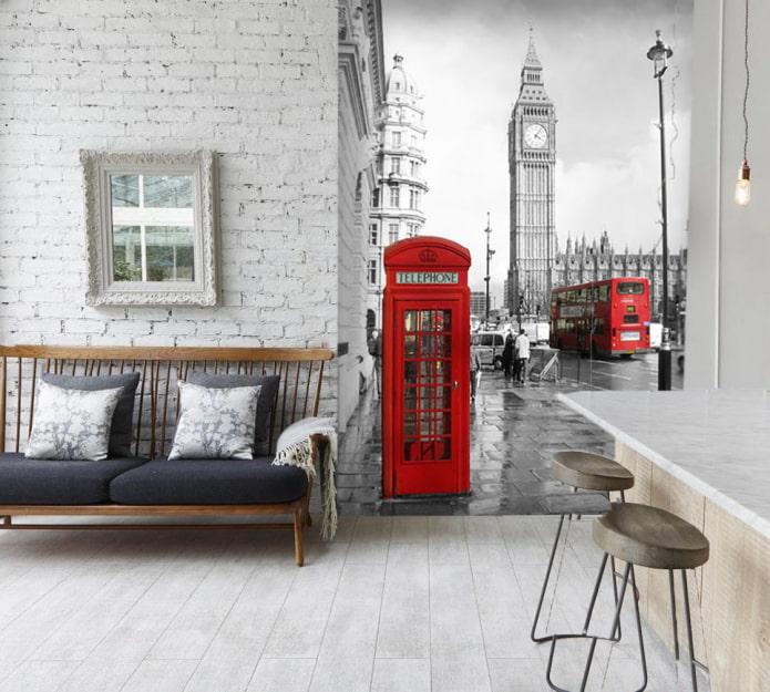 фотообои с изображением Лондона в интерьере