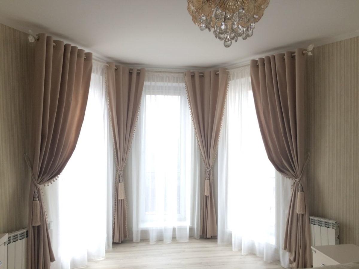 шторы для окон эркером фото выбранной функциональной практичной