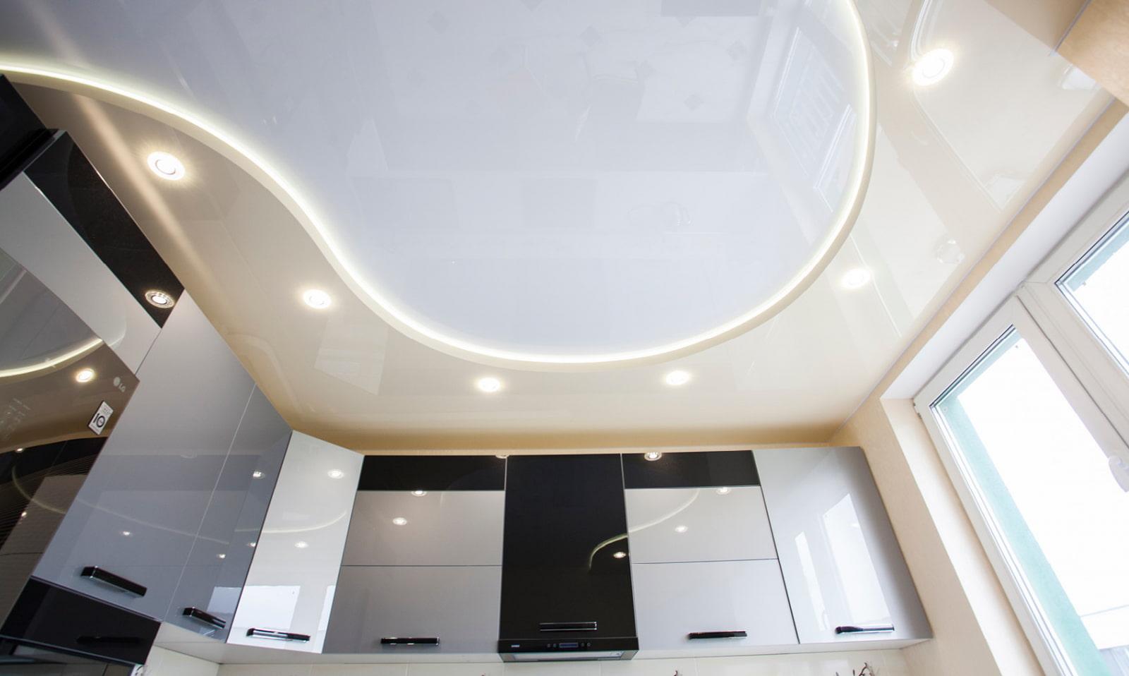 какие картинки двухуровнего потолка натяжного полы представляют