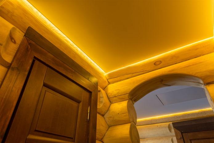 парящая конструкция с желтой подсветкой