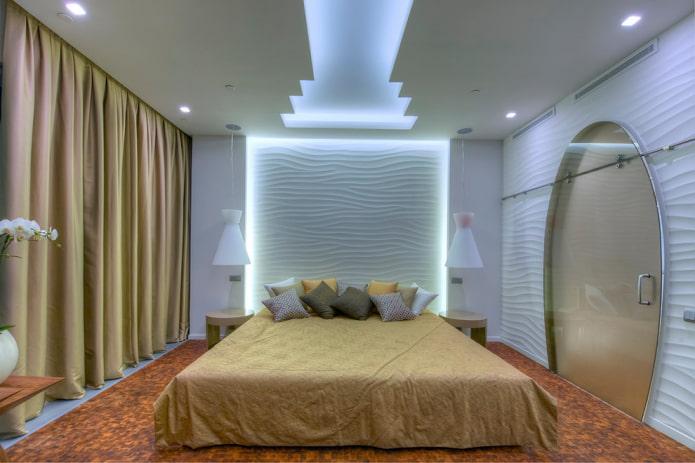 спальня с оригинальной светодиодной подсветкой