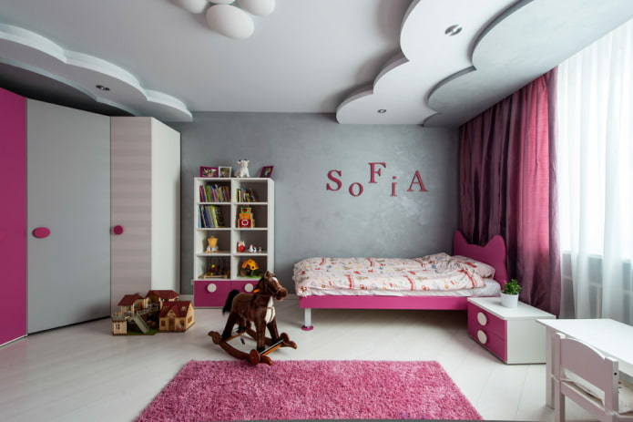 конструкция из гипсокартона в детской комнате