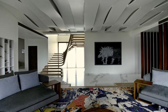 волнообразная конструкция из гипсокартона