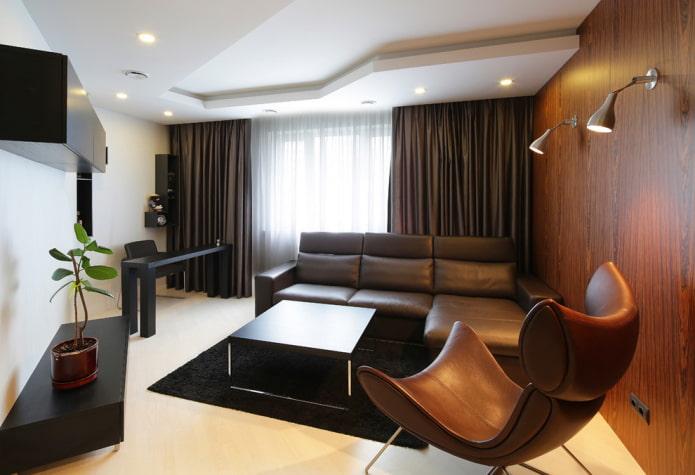 конструкция из гипсокартона в интерьере гостиной