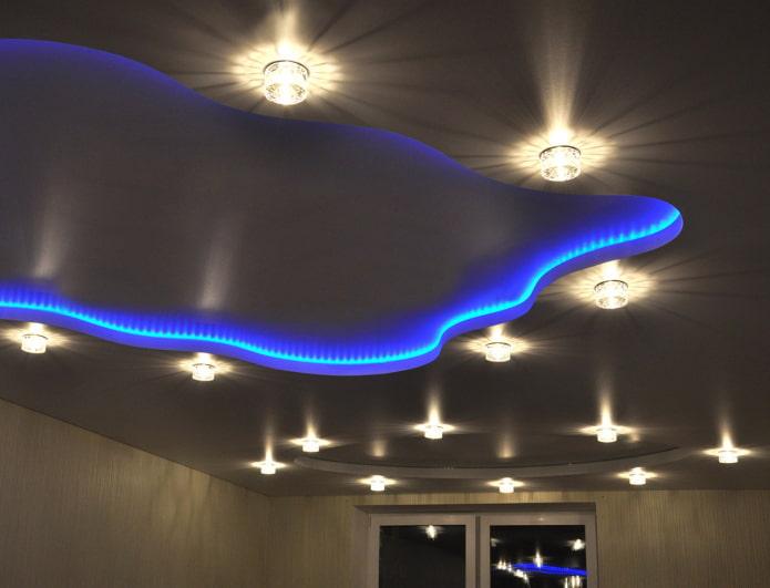сатиновое натяжное полотно с контурной подсветкой