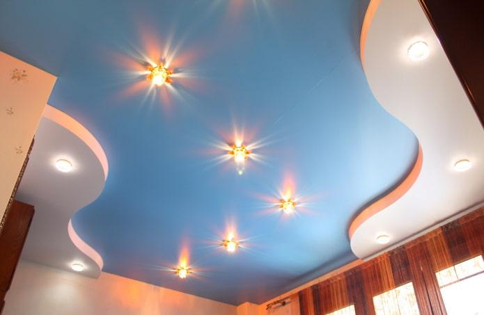 Сатиновые натяжные потолки: 60 фото, современные варианты оформления