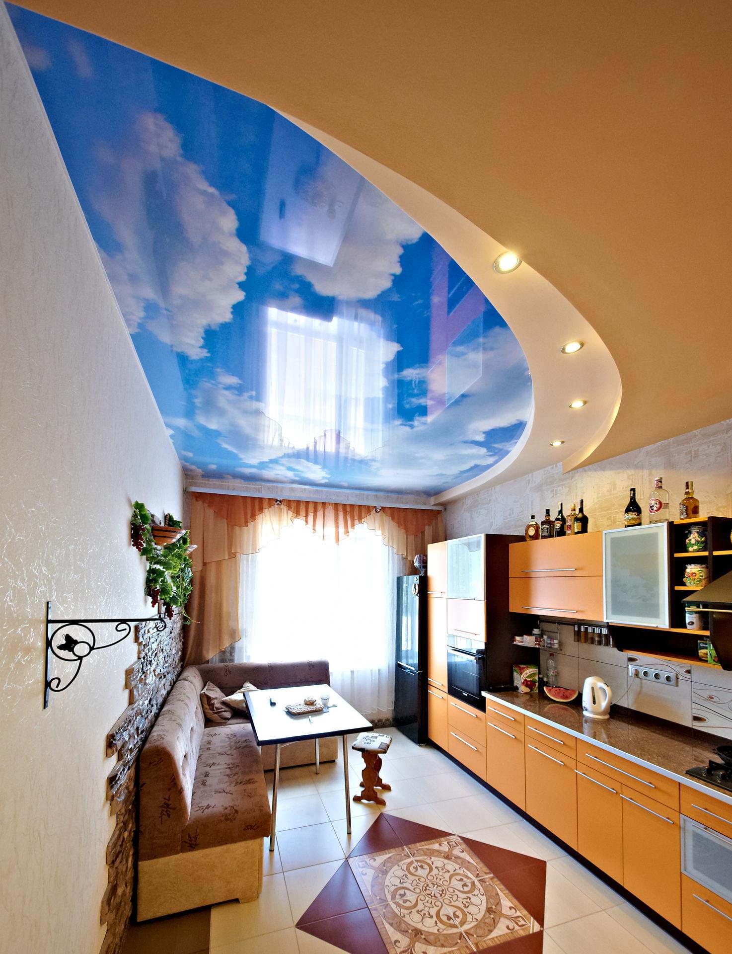 качество натяжные потолки на кухне с облаками фото появится