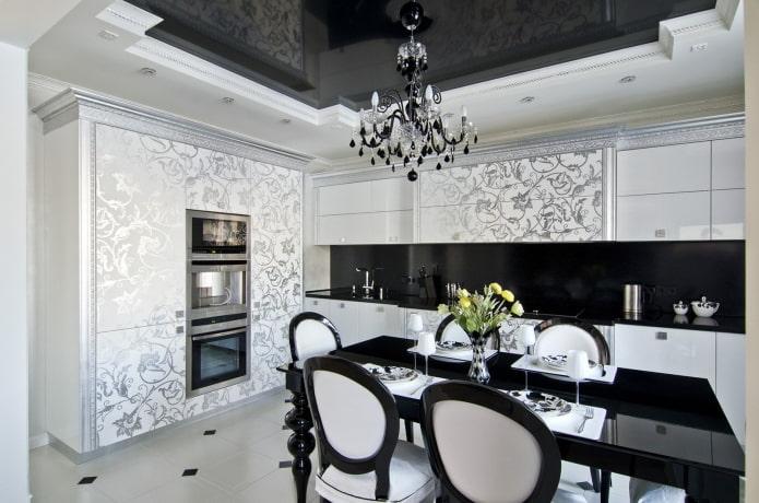 Черно-белый натяжной потолок: 50 фото, современные идеи оформления