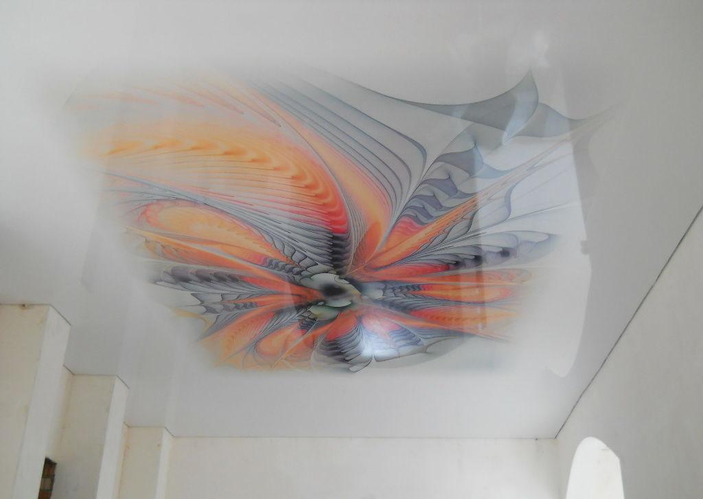 тренде носить натяжной потолок фотопечать абстракция использования кровати