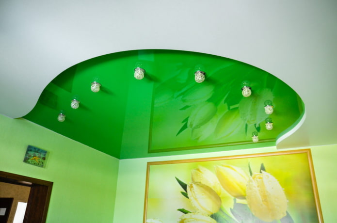 Двухцветные натяжные потолки: 55 фото, идеи для разных видов конструкций