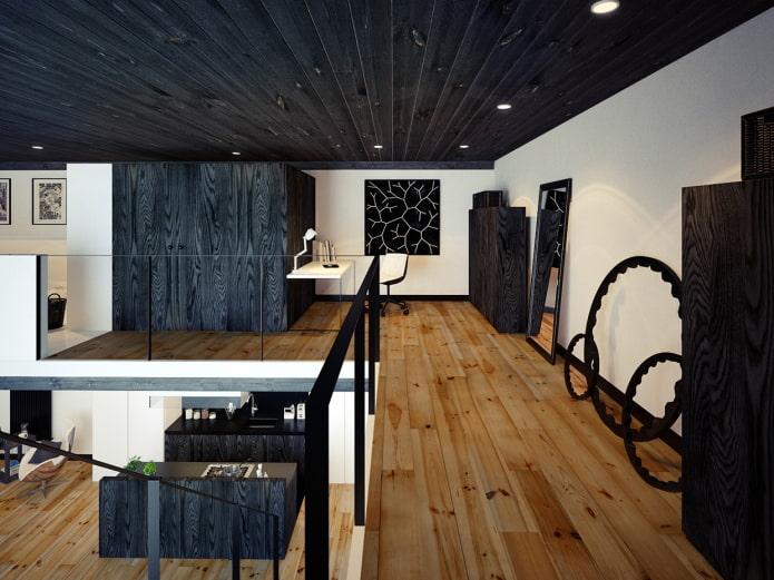 черный потолок из дерева в интерьере