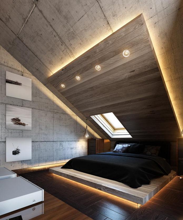 потолок из дерева с подсветкой