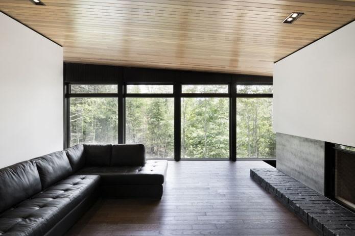 одноуровневая деревянная потолочная конструкция