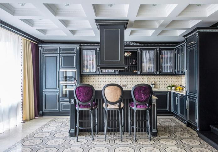 кессонная потолочная конструкция на кухне