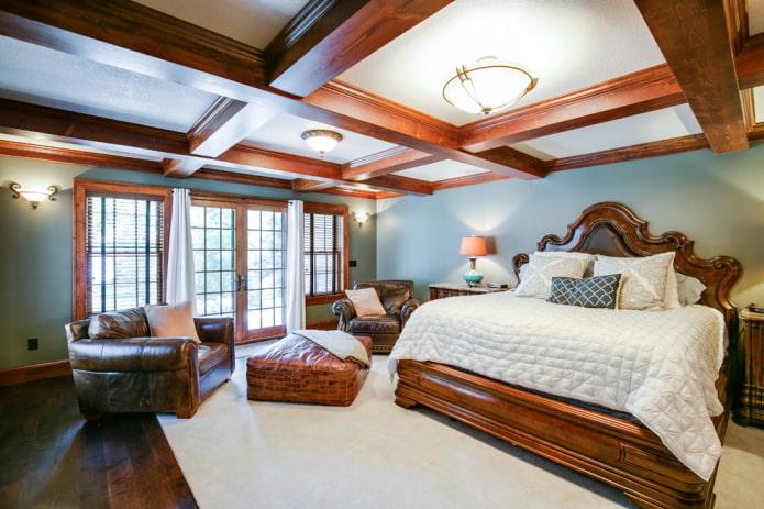 кессонная потолочная конструкция в спальне