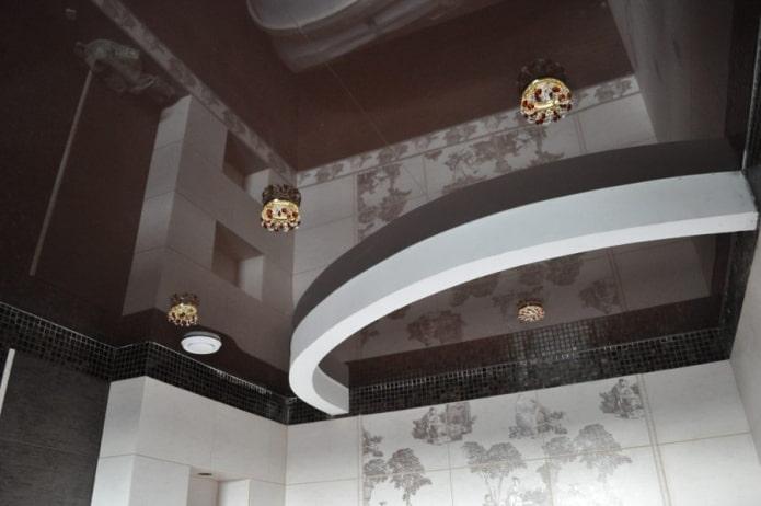 Коричневый потолок (73 фото) натяжных и подвесных конструкций