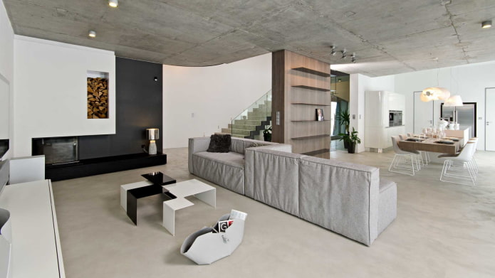 бетонное потолочное покрытие серого цвета