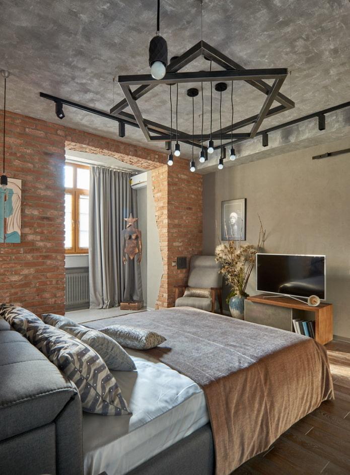 потолок серого цвета в интерьере