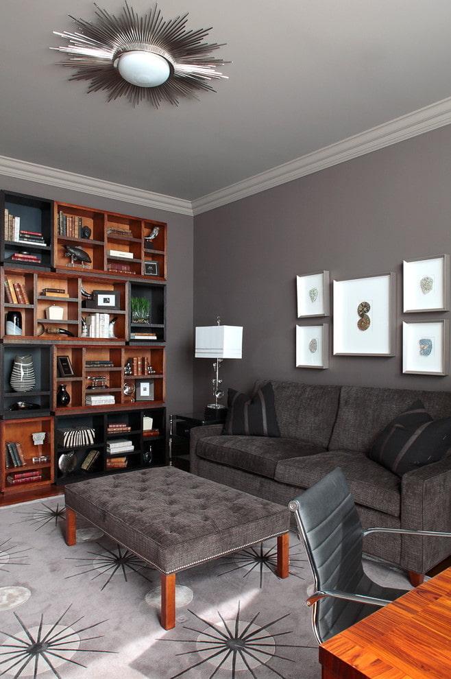 матовый серый потолок в гостиной