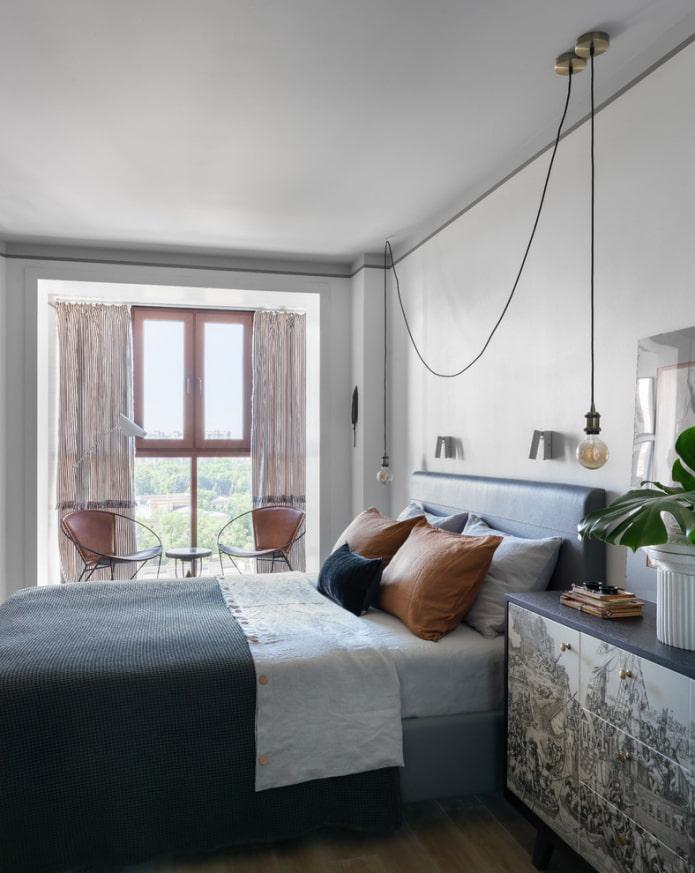 потолочная конструкция светло-серого оттенка в спальне