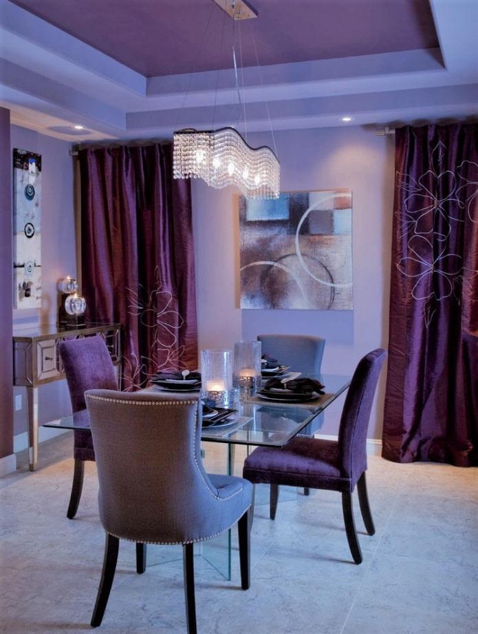 многоуровневый лиловый потолок