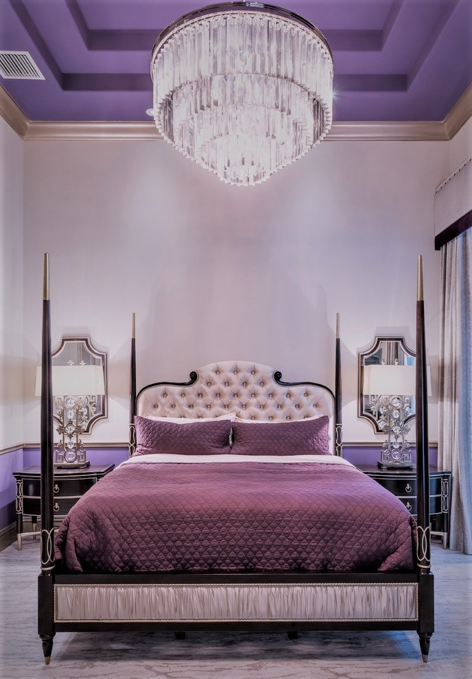 гипсокартонный Двухуровневый потолок лиловый потолок