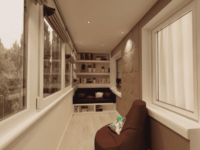 одноуровневая потолочная конструкция на лоджии