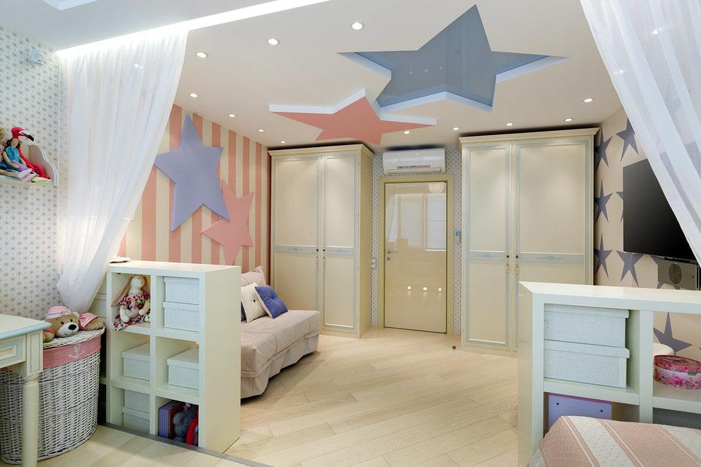 потолок в детской комнате 75 фото в интерьере идеи для девочки или
