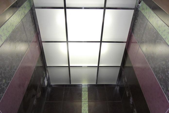 стеклянная потолочная конструкция в санузле