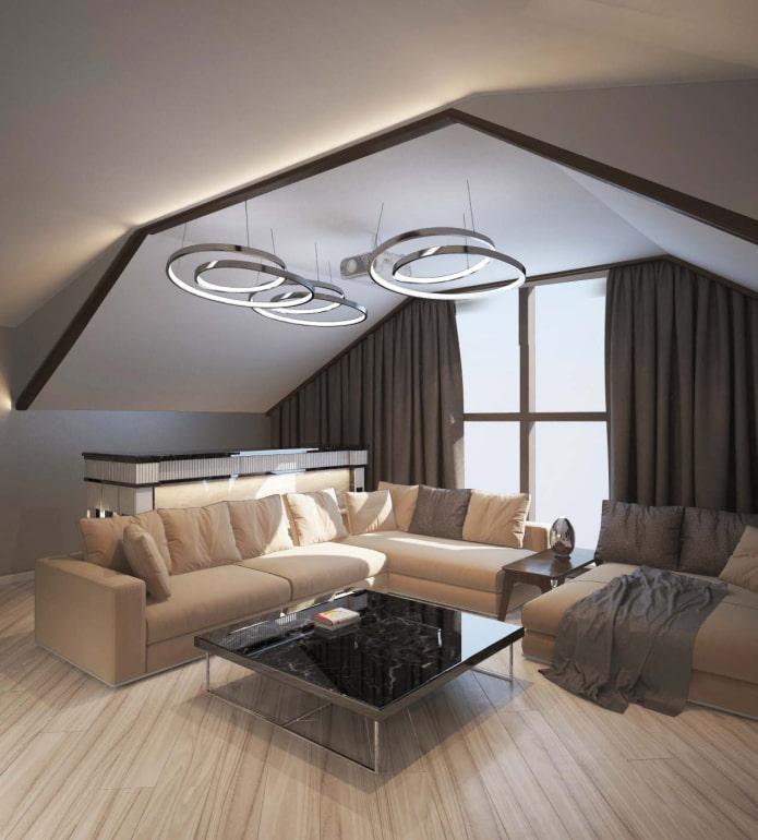 потолочная конструкция на мансарде в современном стиле