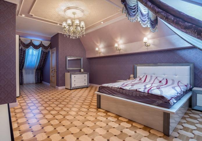 потолочная конструкция на мансарде в классическом стиле