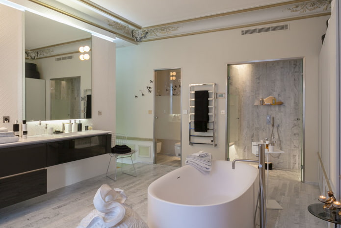 потолочные галтели в ванной комнате