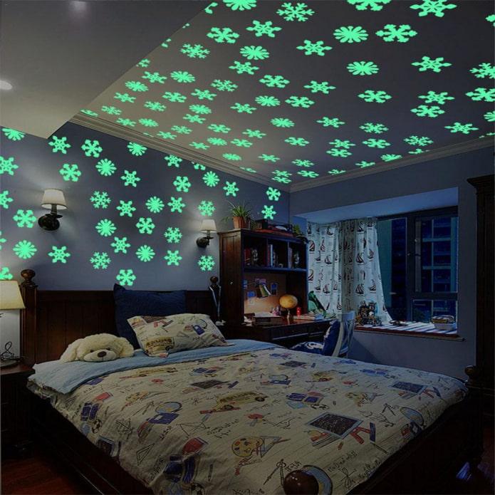 светящиеся фосфорные наклейки на потолке