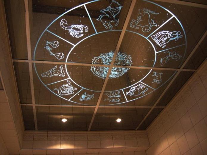 зеркальная потолочная конструкция с узорами